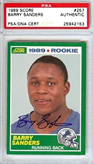 Barry Sanders Autographed 1989 Score Rookie Card #257 Detroit Lions Stock #107413 - PSA/DNA Certified