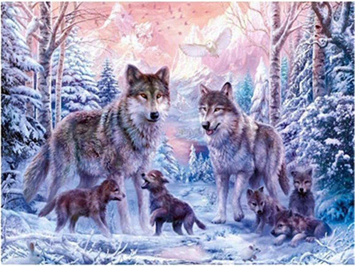 YEESAM ART DIY Paint by Numbers for Adults Beginner Kids, Wolves and Eagle 16x20 inch Linen Canvas Acrylic Stress Less Number Painting Gifts (Wolves, Without Frame)