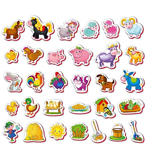 Roter Kafer- Imanes nevera para niños Animales de Granja 31 piezas- Animales juguetes- Juguetes magneticos- Animales granja juguetes- Juegos magneticos- Animales para niños-Juguetes para niños
