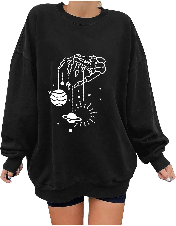 Print Sweatshirts for Women Skeleton Print Sweater Halloween Skull Long Sleeve Pullover Tops Lightweight Sweatshirt