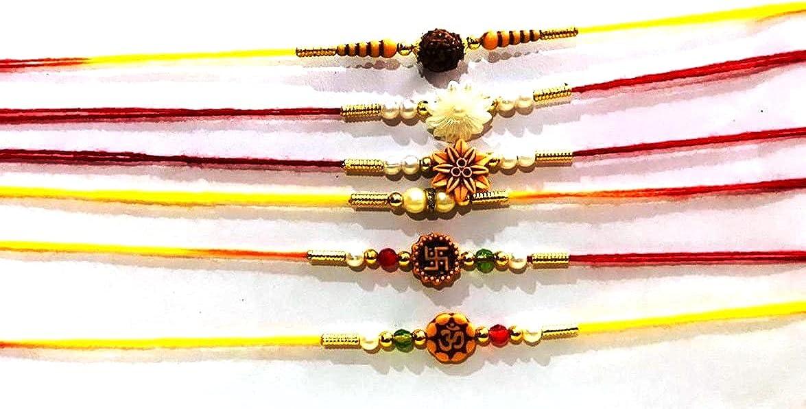 4 Rakhi with 4 Envelope Roli Chawal for Puja Bhaiya, Bhabhi Thread Raksha bandhan Rakhi Bracelet Gift, Wrist Bands for Loving /Brother Sister, Father & Friends
