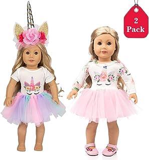 Amycute 2piezas 18in la Ropa Falda de la Muñeca del Traje del Unicornio con Diadema para Las Muñecas del Bebé Recién Nacido Girl Doll del Bebé( Coloridol)