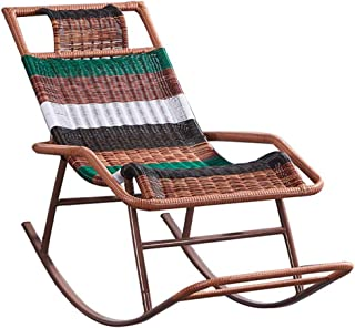 QQXX Rocking Rattan Chair, Sun Lounge Chair Wider Armrest Sun Lounger Patio Recliner Chairs Relaxer for Garden Patio Lawn Reclining Chair with Footrest Max.150kg