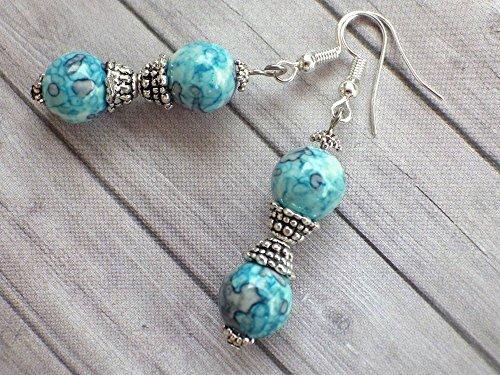 Thurcolas pendientes Blue Spirit perla teñida de cuentas de jade blanco natural azules y perlas de tibetanos