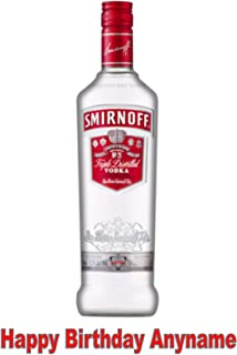 Baking Bling Bottle Smirnoff Vodka A4 Personalised Name Age Birthday Easy Peel PRE-Cut Edible Icing Cake Topper