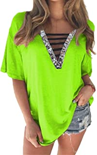 Comaba Women Short-Sleeve Summer Casual Sequin V-Neck Tees T T-Shirt