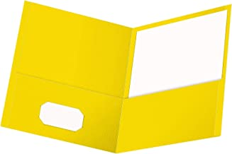 Oxford Twin-Pocket Folders, Textured Paper, Letter Size, Yellow, Holds 100 Sheets, Box of 25 (57509EE) (Renewed)
