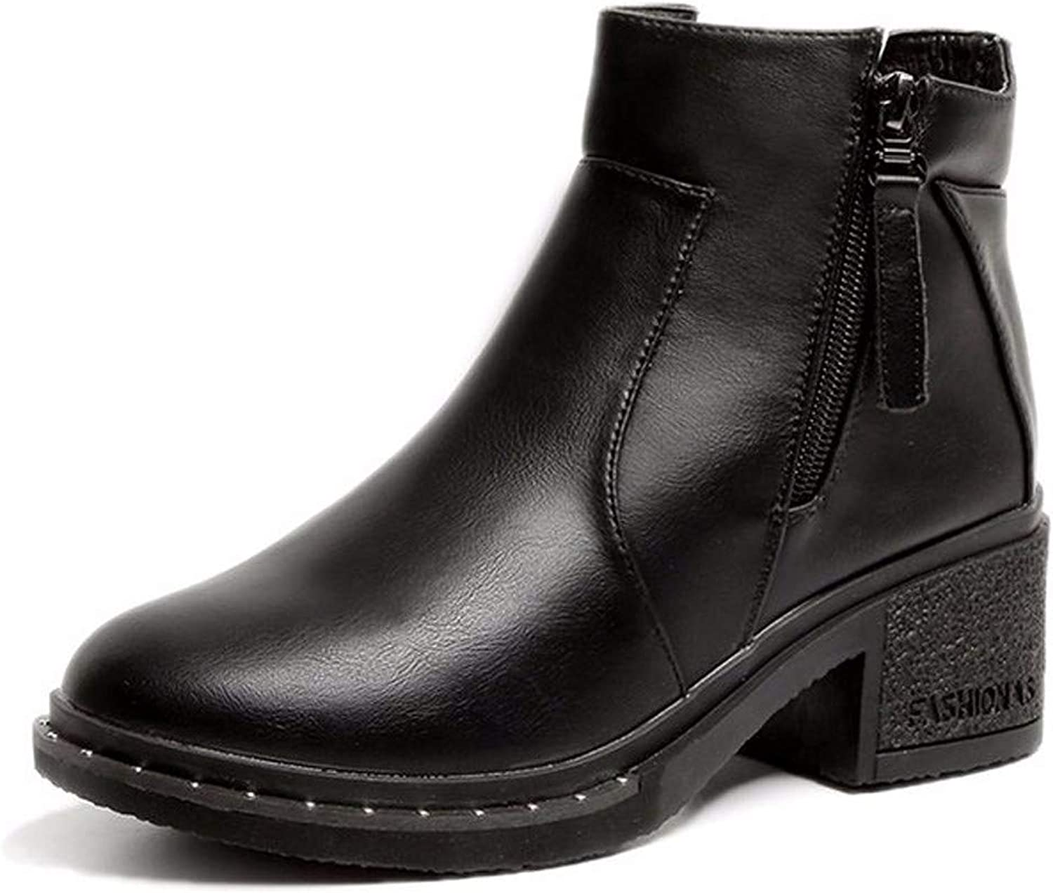 SFSYDDY Popular shoes Martin Boots with High 6Cm Students Wild Cashmere Coarse Winter Short Boots.
