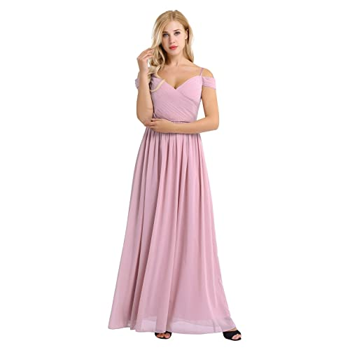 3bad6a53eed YiZYiF Women s Chiffon V Neck Flare Flowy Long Maxi Bridesmaid Formal Party  Dress