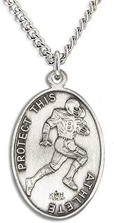 Heartland Men's Sterling Silver Oval Saint Sebastian Football Medal + USA Made + Chain Choice