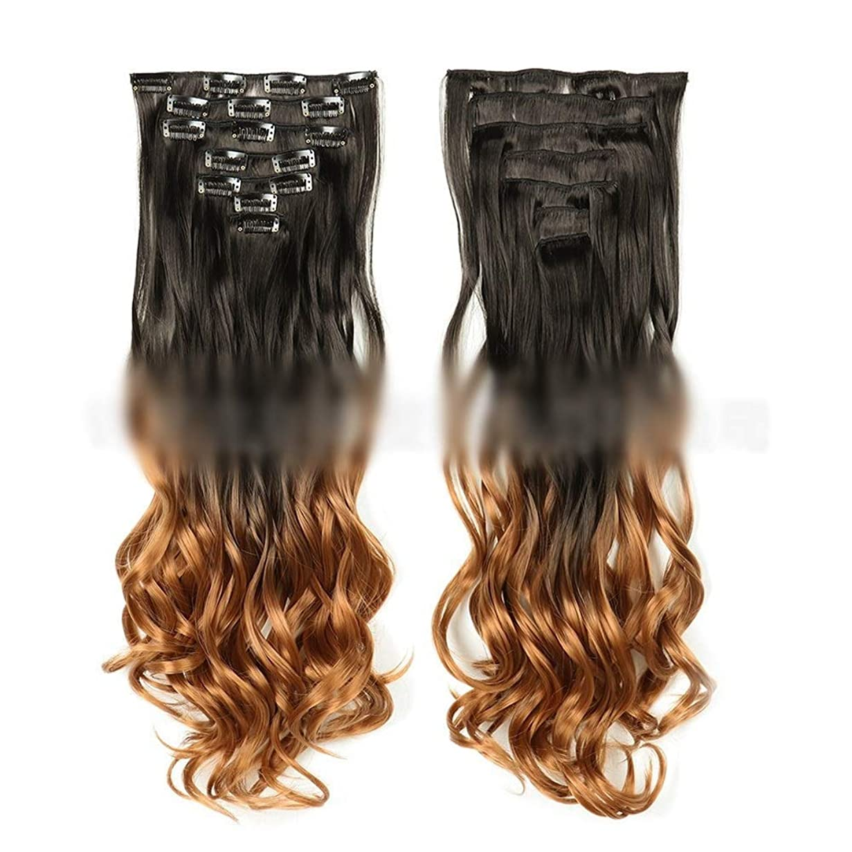 女の子ソブリケット識字YESONEEP ファッション22インチ(55cm)ロングカーリーヘアエクステンションクリップイン - 7個合計16クリップフルヘッドヘアピースビッグウェーブウィッグ、 (色 : #2T30)
