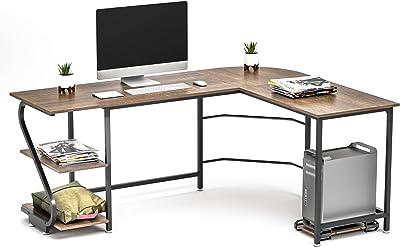 Anivia Bureau réversible en Forme de L avec étagères, Bureau d'ordinateur Grande Table de Jeu pour la Maison, Le Bureau, Le Poste de Travail