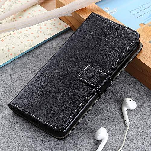 BELLA BEAR Hülle für Alcatel 3L 2019,Leder Brieftasche Geldbörse Halterung Funktion Weichem PU Material Phone Hülle Cover for Alcatel 3L 2019(Schwarz)