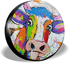 Fresquo Tire Covers Colorful Cow Spare Tire Cover Sun Protector Waterproof Wheel Cover Universal Fit for Jeep, Trailer, RV, SUV, Truck and Many Vehicle Wheel Diameter 23