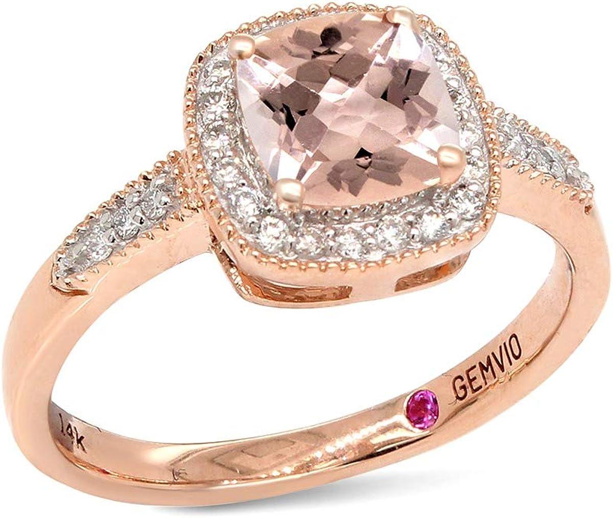 GEMVIO Collection Blush Cushion 6MM Morganite Halo Solitaire Gemstone & Diamond in 14k Gold Engagement Promise Statement Anniversary Wedding Ring