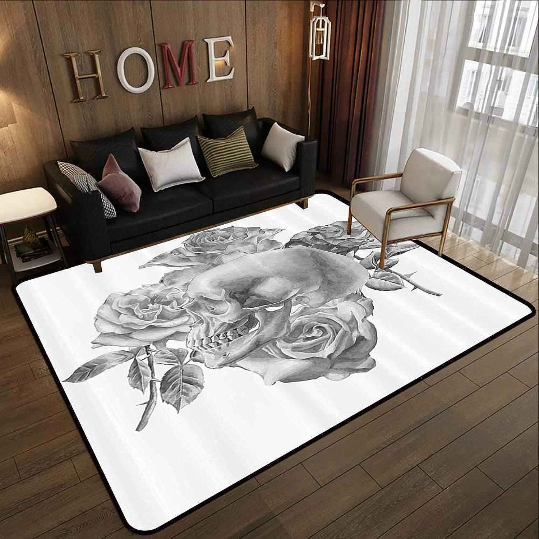 Carpet mat,Grey Decor,Monochrome Illustration with Human Skull and pinks Hand Drawn Watercolors Romantic,Grey 47 x 71  Floor Mat Entrance Doormat