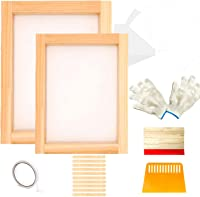 Arshvyl 18 Pieces Screen Printing Starter kit Include Instructions Inkjet Transparency Film Screen Printing Squeegees 10 x 14 Inch Aluminum Silk Screen Printing Frame with 110 White Mesh