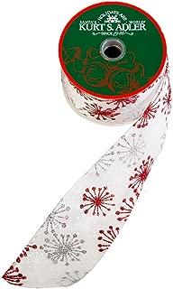 Kurt Adler Kurt S. Adler 10-Yard White, Red, and Silver Snowflake Ribbon