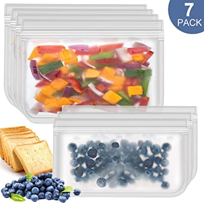Easy Seal Sandwich Bags Reusable Snack Bags 7Pa...