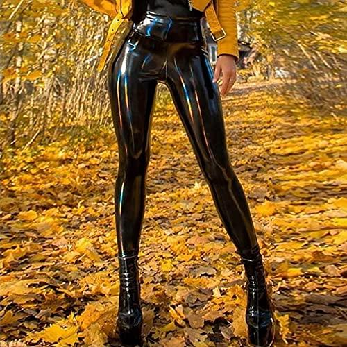 FASZFSAF Lederhose, Frauen Pu Leggings Schwarze Bleistifthose Hohe Taille Sexy DüNne Hose Damen Faux Elastic Shaping Hip Butt Lift Bodycon,Schwarz,L
