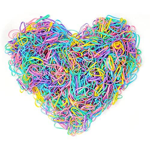 Kavya® Goma de Pelo Multicolor 1000 Mini Gomas Pelo Coletero Elástico Banda de Pelo Suave para Pelo de Niñas, Dreadlocks Pequeños, Peinado de Boda y Más