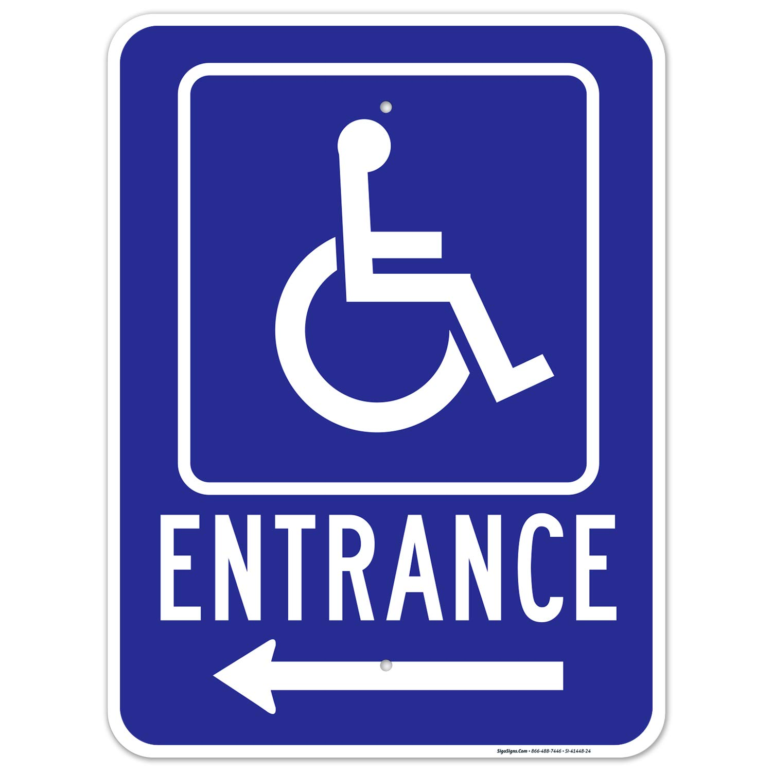wholesale Left Arrow Handicap Entrance Sign Inventory cleanup selling sale Inches Free .063 18x24 Rust