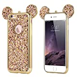 Rhinestone Mouse Ears for Apple iPhone 7/8 by Tech Express Design Cover Chrome Bumper Bling Sparkle Mickey Glitter Diamond Character Case Drop Protection Minnie Cover Flexible [TPU Case] (Gold)