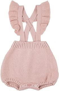 Pinleck Baby Girls Knitted Ruffle Cute Romper Cross Bandage Jumpsuit Bodysuit
