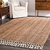 nuLOOM Raleigh Hand Woven Wool Rug, 6' x 9', Natural