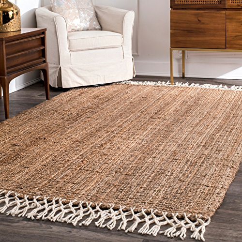 nuLOOM Raleigh Hand Woven Wool Area Rug, 6' x 9', Natural
