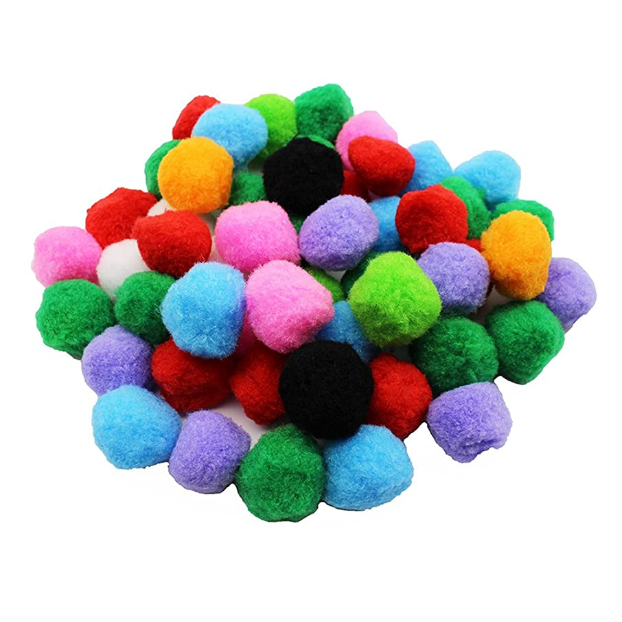 QICI 100 Pack 1.5 Inch Assorted Pom Poms for DIY Creative Crafts Decorations, Assorted Colors