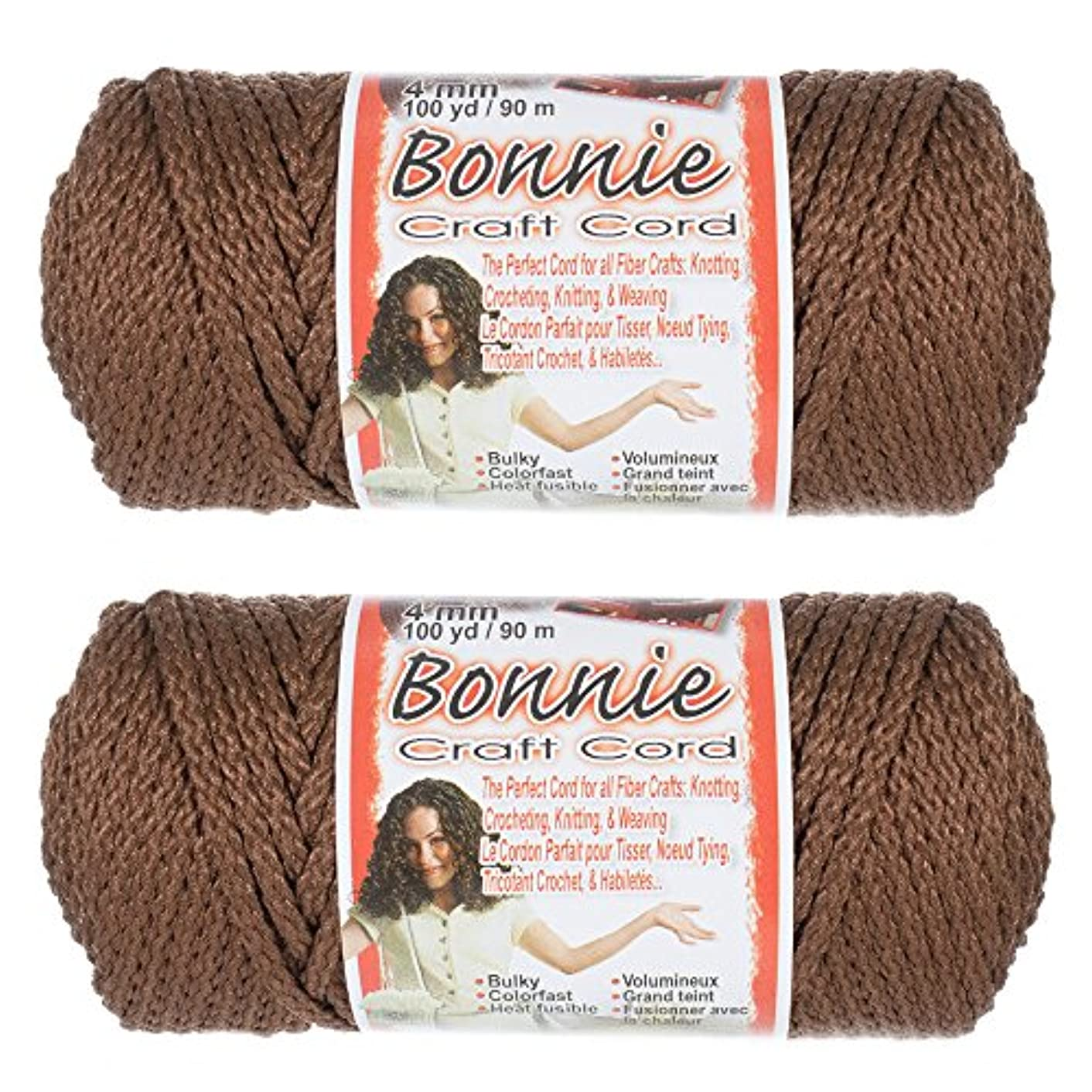 2 Pack Bonnie Macramé Cord - 4mm - 100 yd Lengths - Various Colors