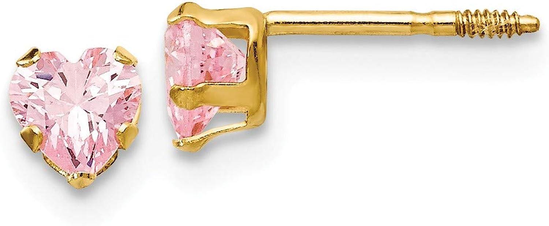 14k Madi K 4mm Pink Heart Earrings Yellow CZ Oakland Mall New Shipping Free Shipping Gold