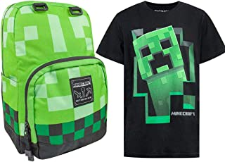 Vanilla Underground Minecraft Creeper Backpack and Various Styles T-Shirt's Bundle Gift Set