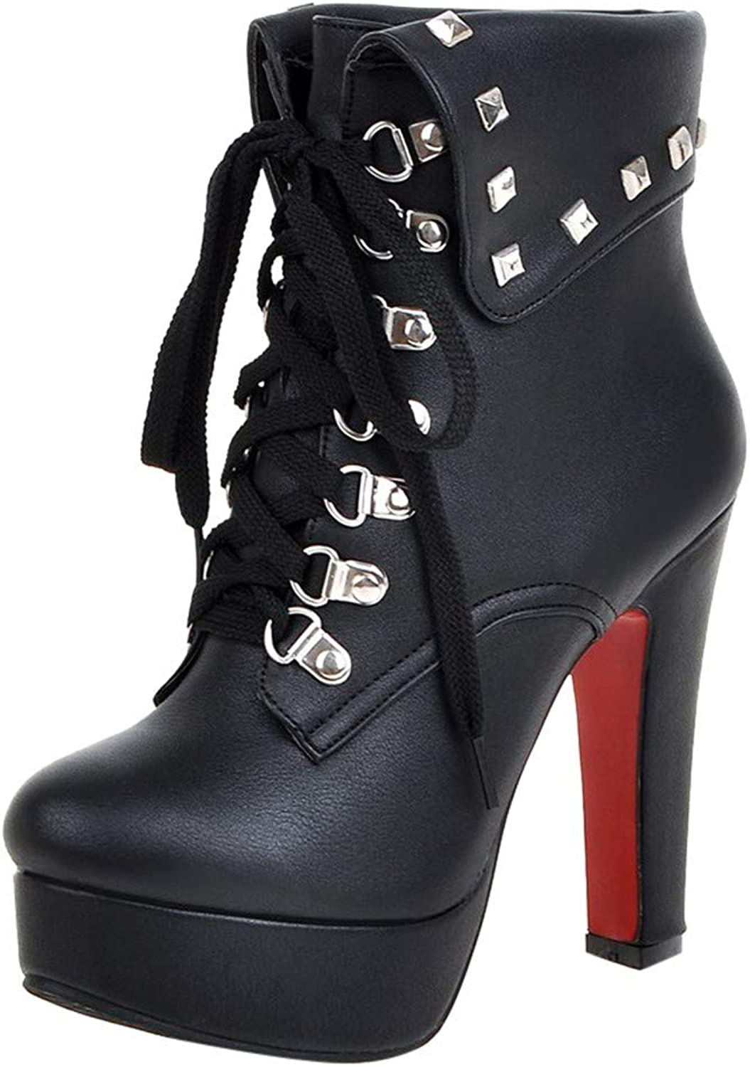 Women shoes, Solid Lace-Up Metal Rivet Thick Super High Heel(8cm-up) Flock Ankle Boots Round Toe Basic shoes