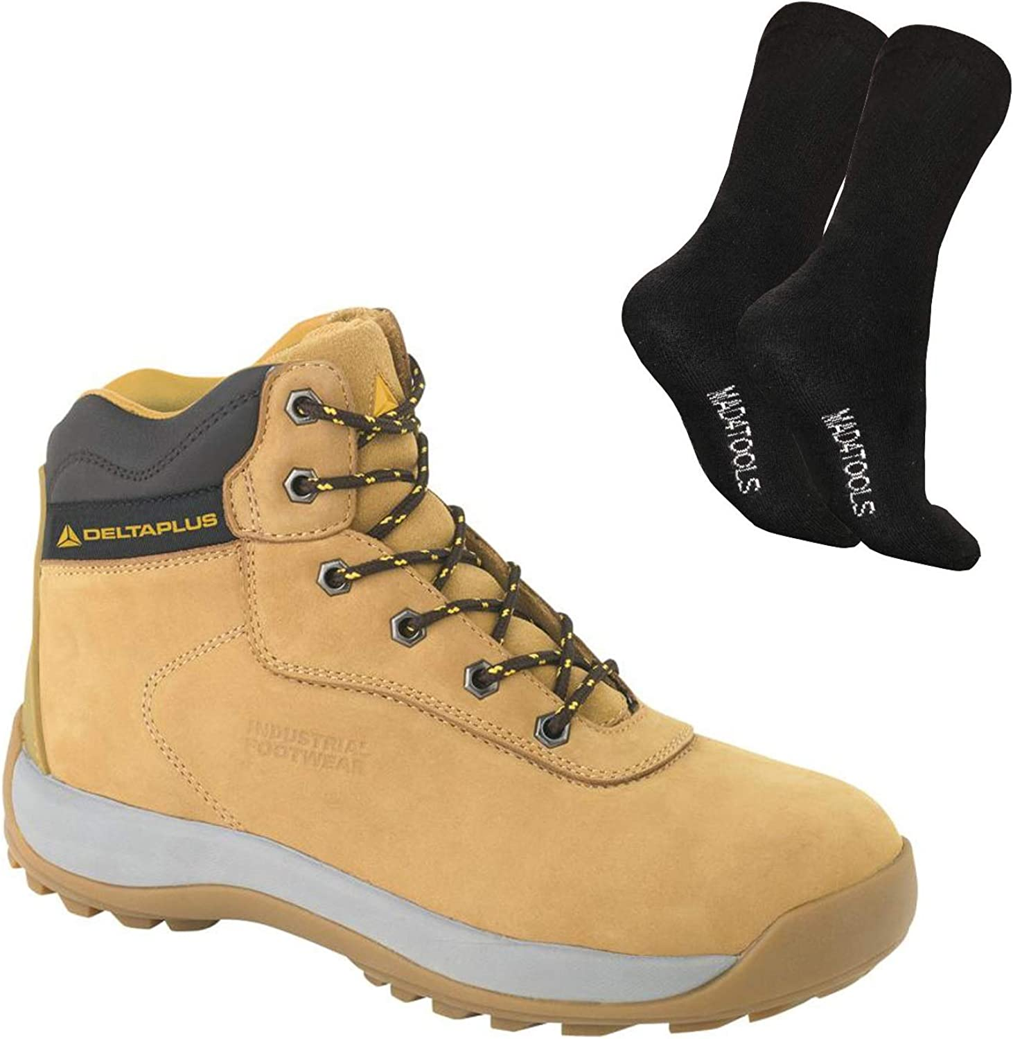 Delta Plus LH840 Nubuck Leather Steel Toe Cap Hiker Safety Work Boots Tan - Sizes 7-12 & mad4tools Work Boot Socks (1 Pair)