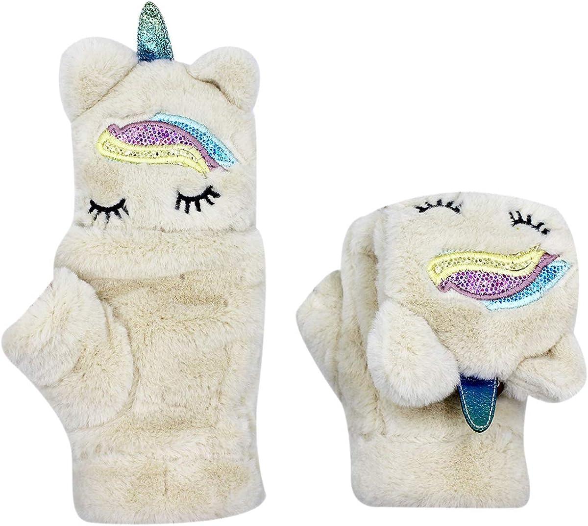 Winter Warm Gloves Mittens Cute Unicorn Windproof Fluffy Fleece Plush Flip Cover Gloves for Women Girls Boys