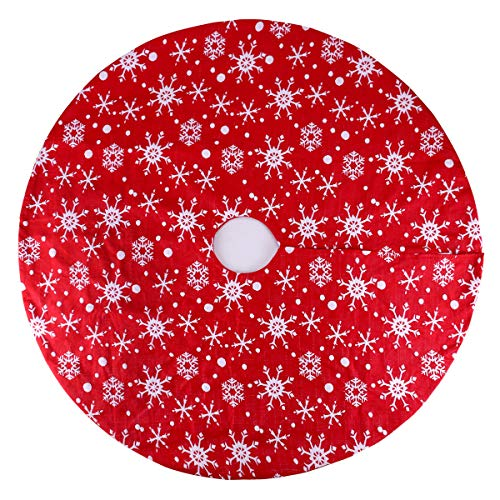 yuboo Red Knit Tree Skirt, Christmas 50' Tree Skirt with Snowflakes for Decorations for Xmas Party and Holiday (36 inch)