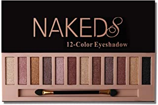 Pro 12 Colors Naked Eyeshadow Makeup Palette - Shimmer Matte Pigmented Blendable Diamond Nude Natural Eye Shadow Pallet Kit with Brush (B)