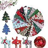 Navidad Tela De Algodón 10 Piezas Tela Navideña Telas Decorativas Costura Telas Patchwork,para DIY Manualidades de Costura de Navidad (20 x 25 cm)