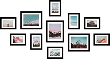 11 Pack Wooden Picture Frames 5x7 8x10 Gallery Wall Photo Frames Set with Hanging Template, Real Wood Collage Photo Frames wi
