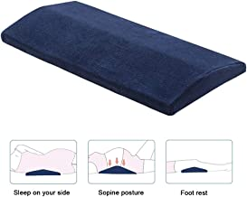 Lumbar Sleeping Pillow Memory Foam Waist Support Cushion for Lower Back Pain Leg Knee Sciatica Pains Pregnancy Side Back and Stomach Sleeper with Washable Cover Navy Blue
