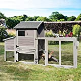 81in Mobile Chicken Coop Multi-Level Hen House, Wooden Poultry Cage for 3-5 Chickens, Outdoor Animal Cage w/Wheels, 4 Doors- UV Panel