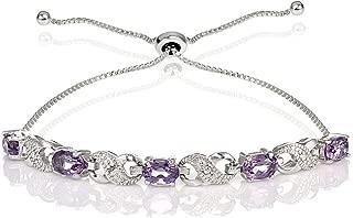 Sterling Silver Genuine or Created Gemstone Infinity Adjustable Bracelet