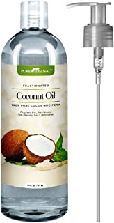 Pure Original 100% Pure Fractionated Coconut Oil 16 fl Oz. Perfect for Aromatherapy Relaxing Massage Therapy, Hair & Skin Care or Carrier for Diluting Essential Oils – Moisturizer & Softener