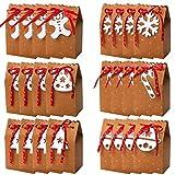 Bolsas de dulces navideñas, 24 piezas Bolsas de regalo de papel kraft Bolsas de regalos para fiestas de Navidad Bolsas de golosinas Cajas de papel para dulces con cintas Bolsas de vacaciones para Nav