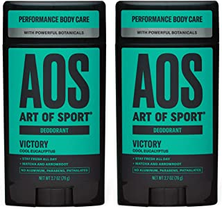 Art of Sport Men's Deodorant (2-Pack) - Victory Scent - Aluminum Free Deodorant for Men with Natural Botanicals Matcha and...