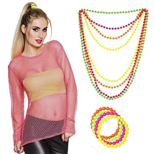Panelize Netzshirt 80er Jahre Neonkleidung Netzhemd neon-pink mit Perlen Armband + Kette