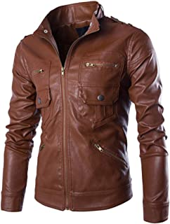 Mens Autumn Winter Casual Long Sleeve Solid Stand Motorcycle Leather Coat Jacket