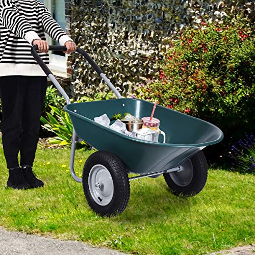 Goplus Dual Wheel Wheelbarrow, Heavy Duty Garden Cart, 330 lbs Capacity Utility Cart with Two 13 inches Pneumatic Tires for Outdoor Lawn Yard (Green)